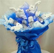 7 adet pelus ayicik buketi  Ankara ucuz çiçek gönder