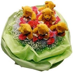 6 adet pelus ayicik 12 adet yapay gül buketi  Ankara çiçek mağazası , çiçekçi adresleri