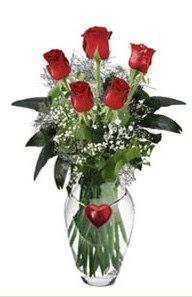 Ankara çiçek servisi , çiçekçi adresleri  5 adet kirmizi gül ve kalp çubuklu