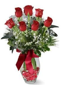 Ankara çiçek servisi , çiçekçi adresleri  7 adet kirmizi gül cam vazo yada mika vazoda