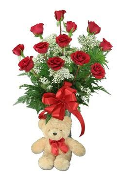 10 adet vazoda kirmizi gül ve 12 cm ayi  Ankara çiçekçiler
