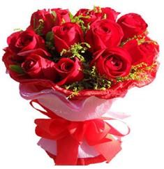 9 adet kirmizi güllerden kipkirmizi buket  Ankara çiçek online çiçek siparişi