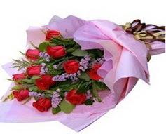 11 adet kirmizi güllerden görsel buket  Ankara İnternetten çiçek siparişi