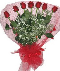 7 adet kipkirmizi gülden görsel buket  Ankara çiçek siparişi vermek