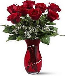 Vazo içinde 8 adet kirmizilar içinde güller  Ankara çiçek servisi , çiçekçi adresleri