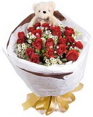15 cm boyutlarinda ayicik ve 12 adet gül  Ankara anneler günü çiçek yolla