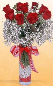 9 adet kirmizi gül cam yada mika vazoda  Ankara çiçek siparişi vermek
