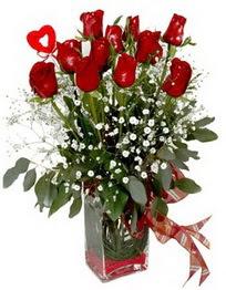 Ankara çiçek mağazası , çiçekçi adresleri  9 adet mika yada cam vazoda gül tanzimi kalp çubuk