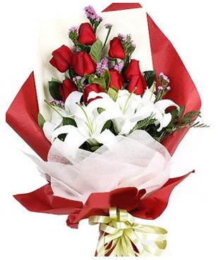 Ankara çiçek online çiçek siparişi  1 dal kazablankaa 9 adet kırmızı gül buketi