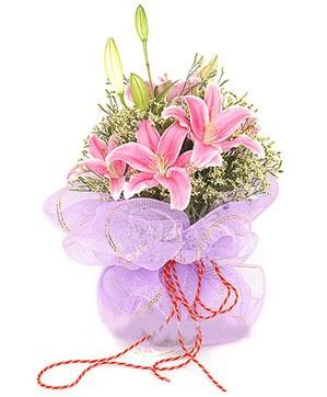 3 dal kazablanka görsel buketi  Ankara hediye sevgilime hediye çiçek