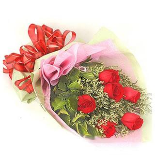 Ankara ucuz çiçek gönder  6 adet kırmızı gülden buket