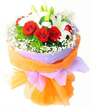 Ankara İnternetten çiçek siparişi  1 dal kazablanka 7 adet kırmızı gül buketi