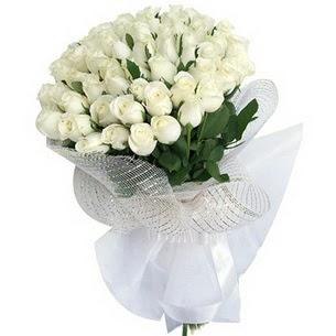 Ankara online çiçek gönderme sipariş  51 adet beyaz gülden buket tanzimi