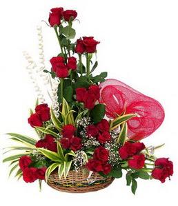 Ankara çiçekçi mağazası  25 adet kırmızı gül sepeti çiçeği