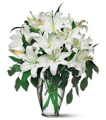 Ankara hediye sevgilime hediye çiçek  4 dal kazablanka ile görsel vazo tanzimi
