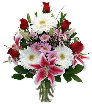 Ankara çiçek siparişi vermek  1 dal kazablanka 5 gül ve kırçiçeği vazosu