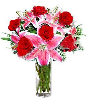 Ankara çiçek gönderme  1 dal cazablanca ve 6 kırmızı gül çiçeği