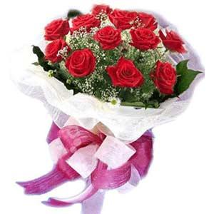 Ankara çiçek , çiçekçi , çiçekçilik  11 adet kırmızı güllerden buket modeli