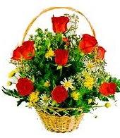 9 adet gül ve sepette kır çiçekleri  Ankara hediye sevgilime hediye çiçek