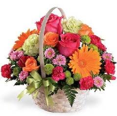 Sepet içerisinde karışık mevsim çiçekleri  Ankara anneler günü çiçek yolla