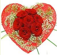 Mika kalp içerisinde 7 adet kırmızı gül  Ankara 14 şubat sevgililer günü çiçek