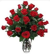 Ankara anneler günü çiçek yolla  24 adet kırmızı gülden vazo tanzimi