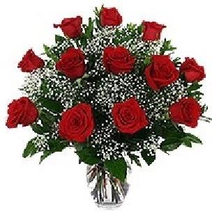 Ankara 14 şubat sevgililer günü çiçek  12 adet kırmızı gülden vazo tanzimi