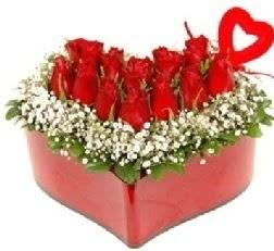 Kalp içerisinde 9 kırmızı gül kalp çubuk  Ankara çiçek servisi , çiçekçi adresleri