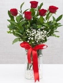 cam vazo içerisinde 5 adet kırmızı gül  Ankara yurtiçi ve yurtdışı çiçek siparişi