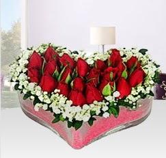 Kalp içerisinde 10 adet kırmızı gül  Ankara çiçek siparişi sitesi