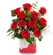 11 adet kırmızı gül vazosu  Ankara güvenli kaliteli hızlı çiçek