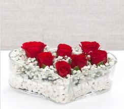 kalp içerisinde 7 adet kırmızı gül  Ankara çiçek mağazası , çiçekçi adresleri