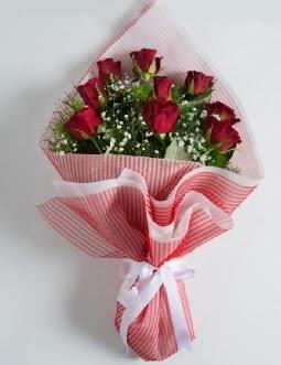 9 adet kırmızı gülden buket  Ankara çiçek , çiçekçi , çiçekçilik