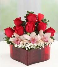 3 kandil orkide 5 kırmızı gül kalp mika  Ankara hediye sevgilime hediye çiçek