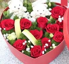 2 adet ayıcık 9 kırmızı gül kalp içerisinde  Ankara hediye sevgilime hediye çiçek