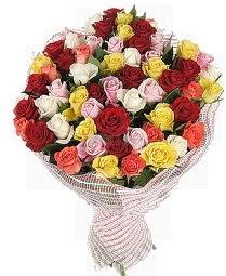 51 adet rengarenk gül buketi  Ankara çiçek siparişi vermek