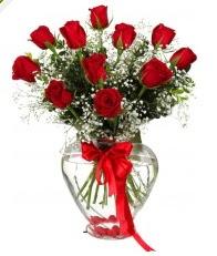 9 adet kırmızı gül cam kalpte  Ankara uluslararası çiçek gönderme