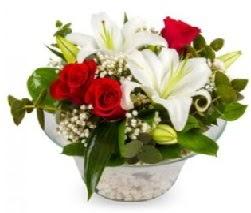 Cam içerisinde 2 kandil kazablanka 5 gül  Ankara çiçek servisi , çiçekçi adresleri