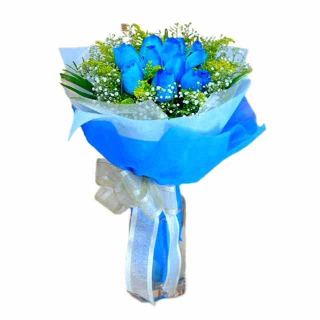 7 adet mavi gül buketi  Ankara ucuz çiçek gönder