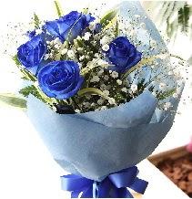 5 adet mavi gülden buket çiçeği  Ankara çiçek , çiçekçi , çiçekçilik