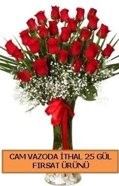 Cam vazoda ithal 1. kalite 25 gül  Ankara hediye sevgilime hediye çiçek