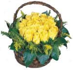 Ankara güvenli kaliteli hızlı çiçek  Sepet içinde kaliteli sari güller