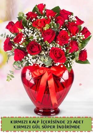Kırmızı kalp içerisinde 23 adet kırmızı gül  Ankara çiçek , çiçekçi , çiçekçilik