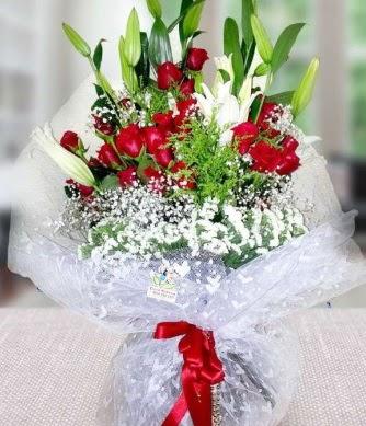 Kız isteme buketi lilyum gül  Ankara çiçekçi telefonları