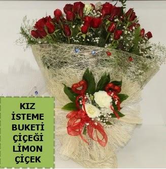 27 adet kırmızı gülden kız isteme buketi  Ankara çiçek , çiçekçi , çiçekçilik