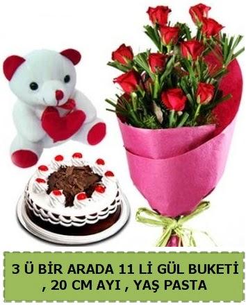 Yaşpasta ayıcık ve gül buketi herşey içinde  Ankara İnternetten çiçek siparişi