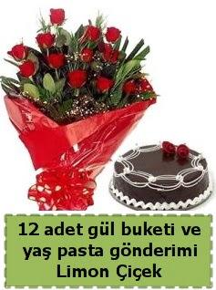 12 adet kırmızı gül buketi ve yaş pasta  Ankara İnternetten çiçek siparişi