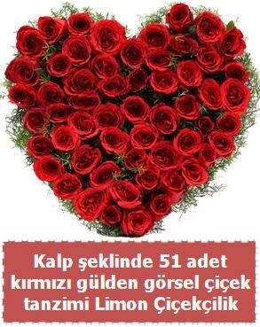 51 kırmızı gülden kalp şeklinde çiçek tanzim  Ankara çiçek , çiçekçi , çiçekçilik