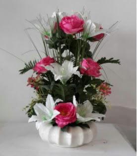 Porselen tabak yapay çiçek  Ankara çiçek gönderme