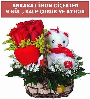 Kalp çubuk sepette 9 gül ve ayıcık  Ankaraya çiçek yolla